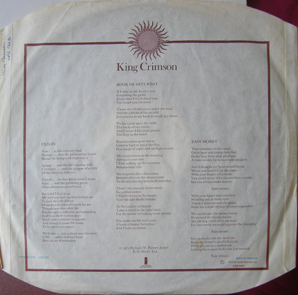 Discuri vinil noi King Crimson  Lark's Tongues in Aspic